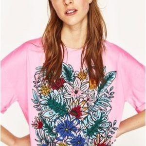 Zara Graphic Floral Print Pink Boxy Classic Tee M